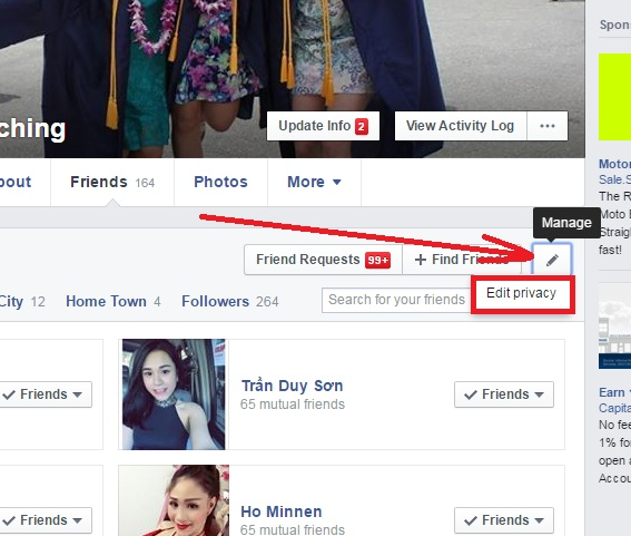 edit facebook friends list