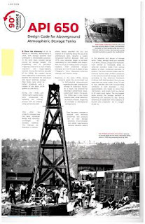 Page from Connections magazine with historic oil industry images