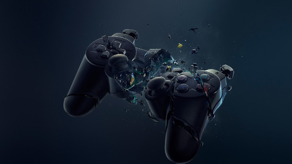 Gamepad Playstation Explose - Fond d'Écran en Full HD
