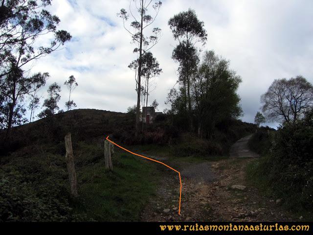 Ruta Torazo, Pico Incos: Desviación junto al depósito de agua