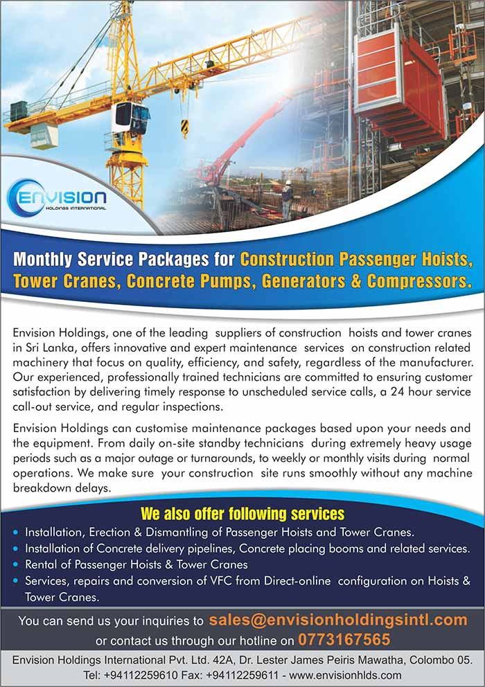 Envision Holdings International   Monthly service packages for Construction Hoists, Tower Cranes, Concrete pumps, Placing booms etc.