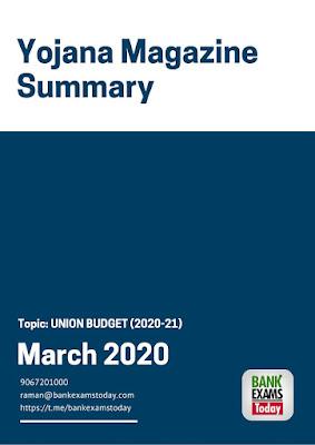 Yojana Magazine Summary: March 2020