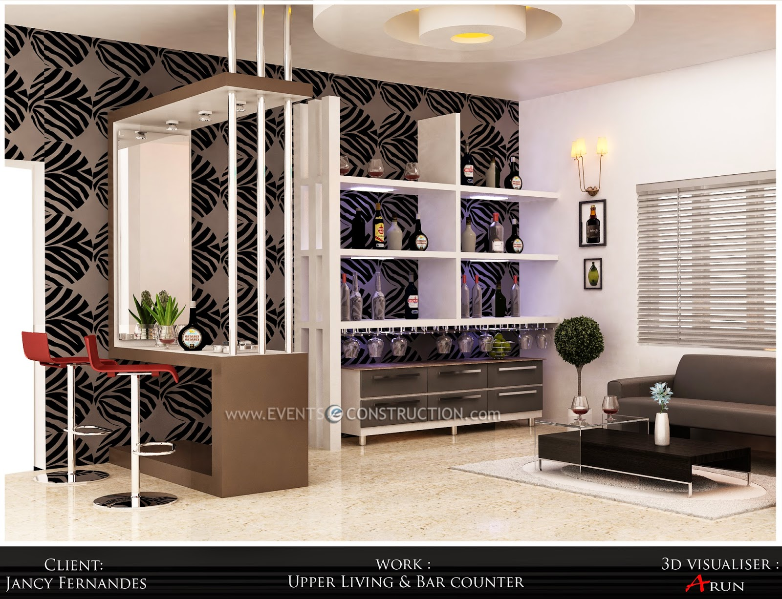Evens Construction Pvt Ltd Upper living room and bar counter