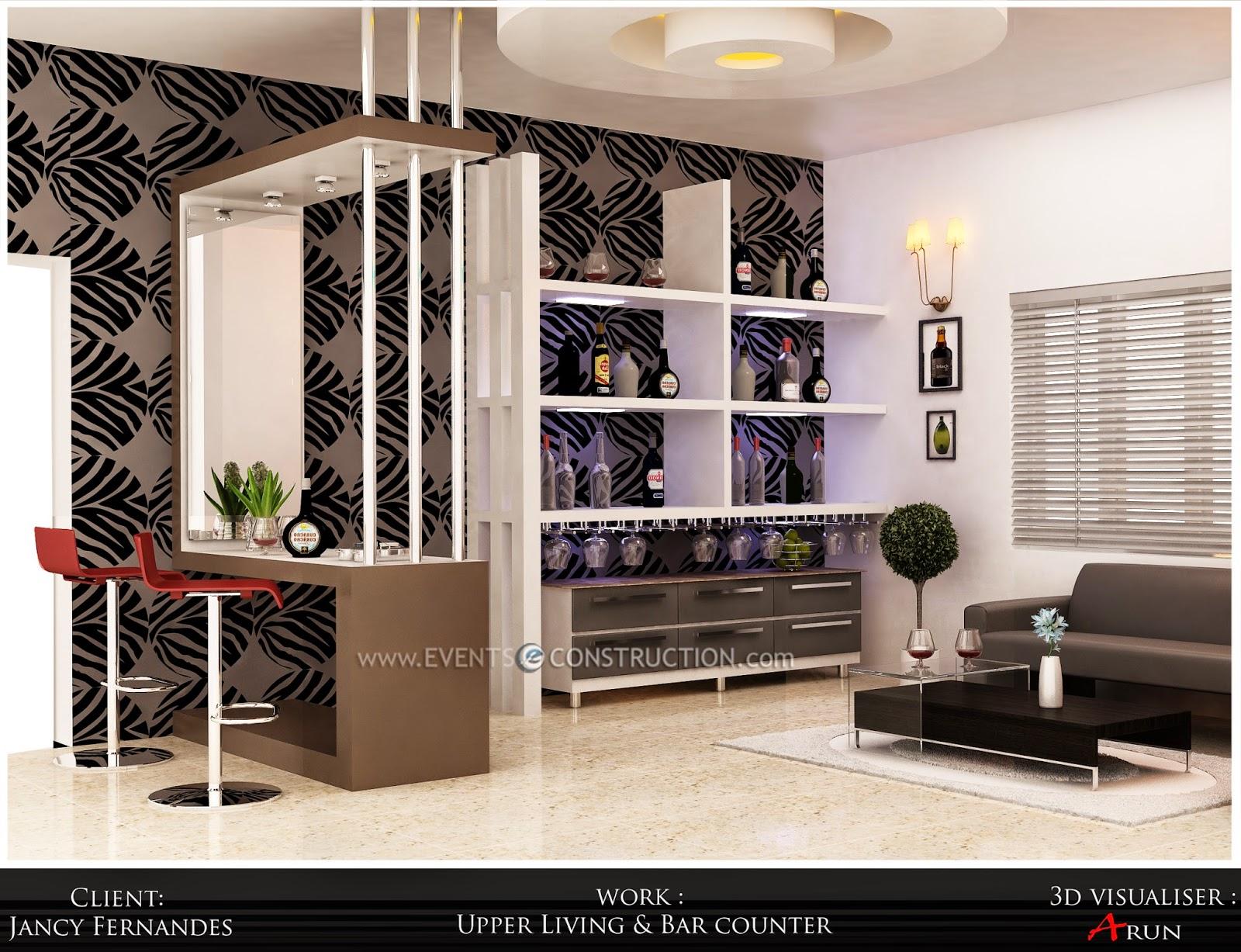Evens Construction Pvt Ltd Upper living room and bar counter