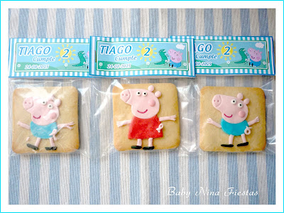Galletas decoradas personalizadas Peppa y George Pig