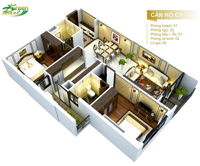 Mặt bằng căn hộ C1 chung cư Green Pearl Minh Khai