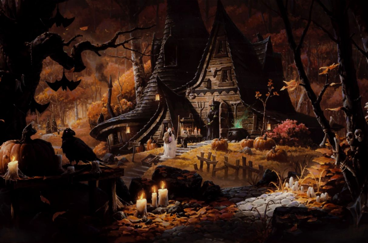 Halloween House Witch Bats Hd Wallpaper Pack Wallpapers