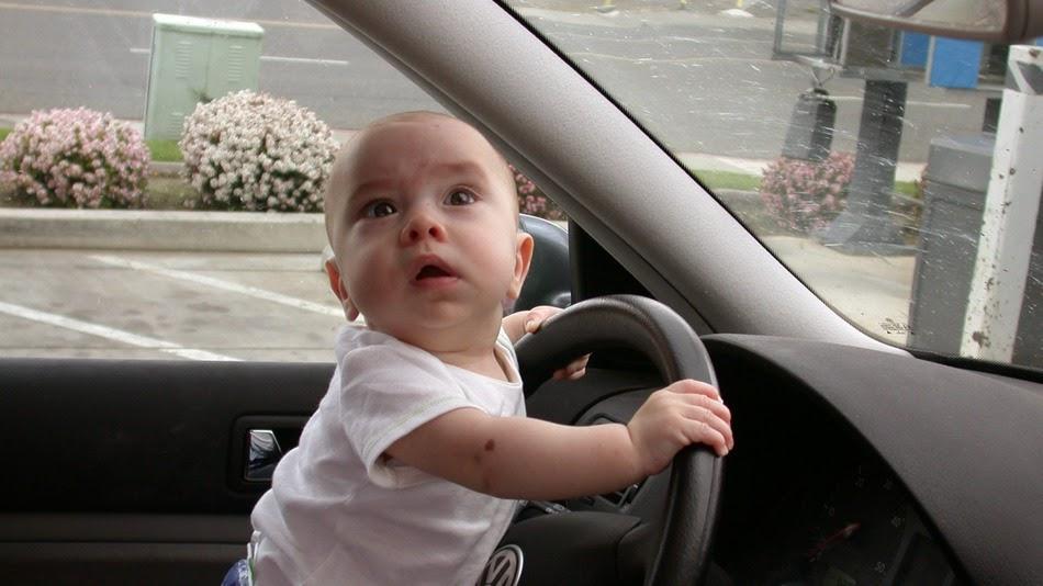 Gambar bayi menyetir mobil
