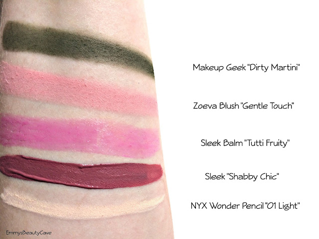 Zoeva Gentle Touch Swatch, Makeup Geek Dirty Martini, Sleek Shabby Chic