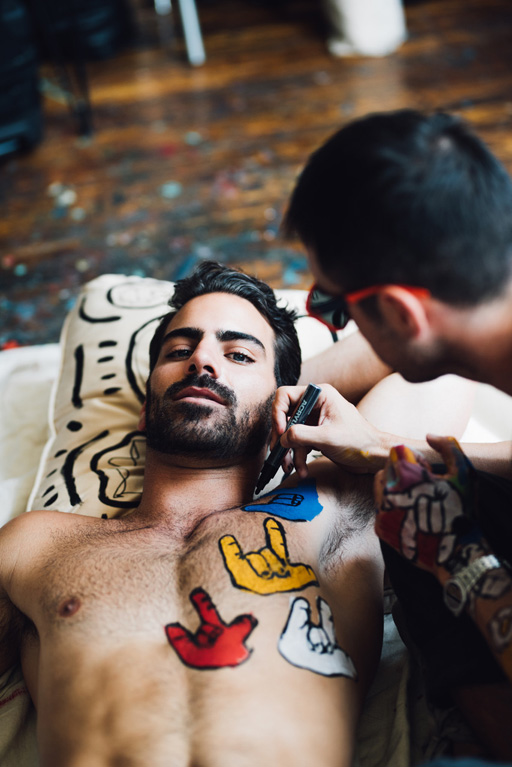 "Actor and model Nyle DiMarco covers Gay Times Magazine  wearing only 'I love you"" in body paint"