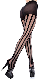 Striped nylon tights for use in steampunk catwoman cosplay womens steampunk fashions