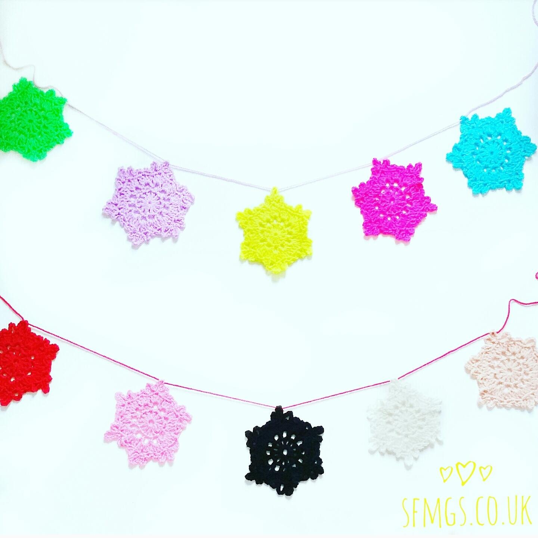 snowflake christmas crochet pattern garland