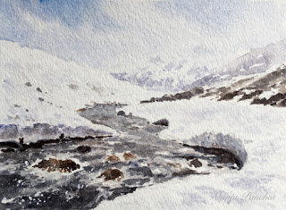 Water colour painting of a river flowing through snow landscape by Indian artist Manju Panchal