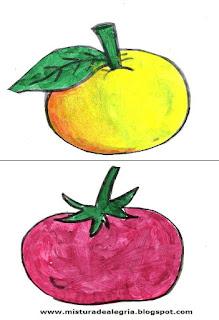 Desenho de laranja e tomate