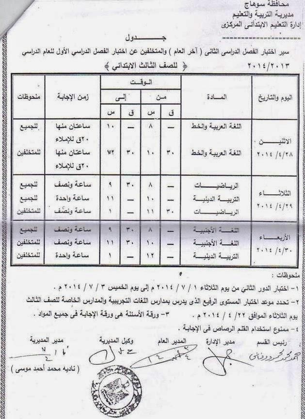 جدوال امتحانات الترم الثانى 2014 محافظة سوهاج جميع المراحل الدراسية ط¬ط%C