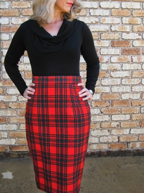 Red Tartan Gertie's Pencil Skirt
