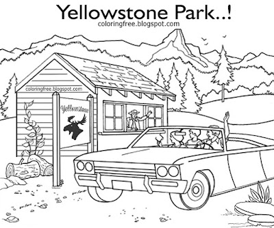 Clipart American car trip printable national park family holiday Yellowstone coloring books for kids
