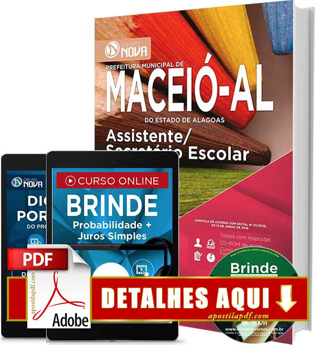 Apostila Prefeitura de Maceió 2016 Assistente Secretário Escolar Impressa