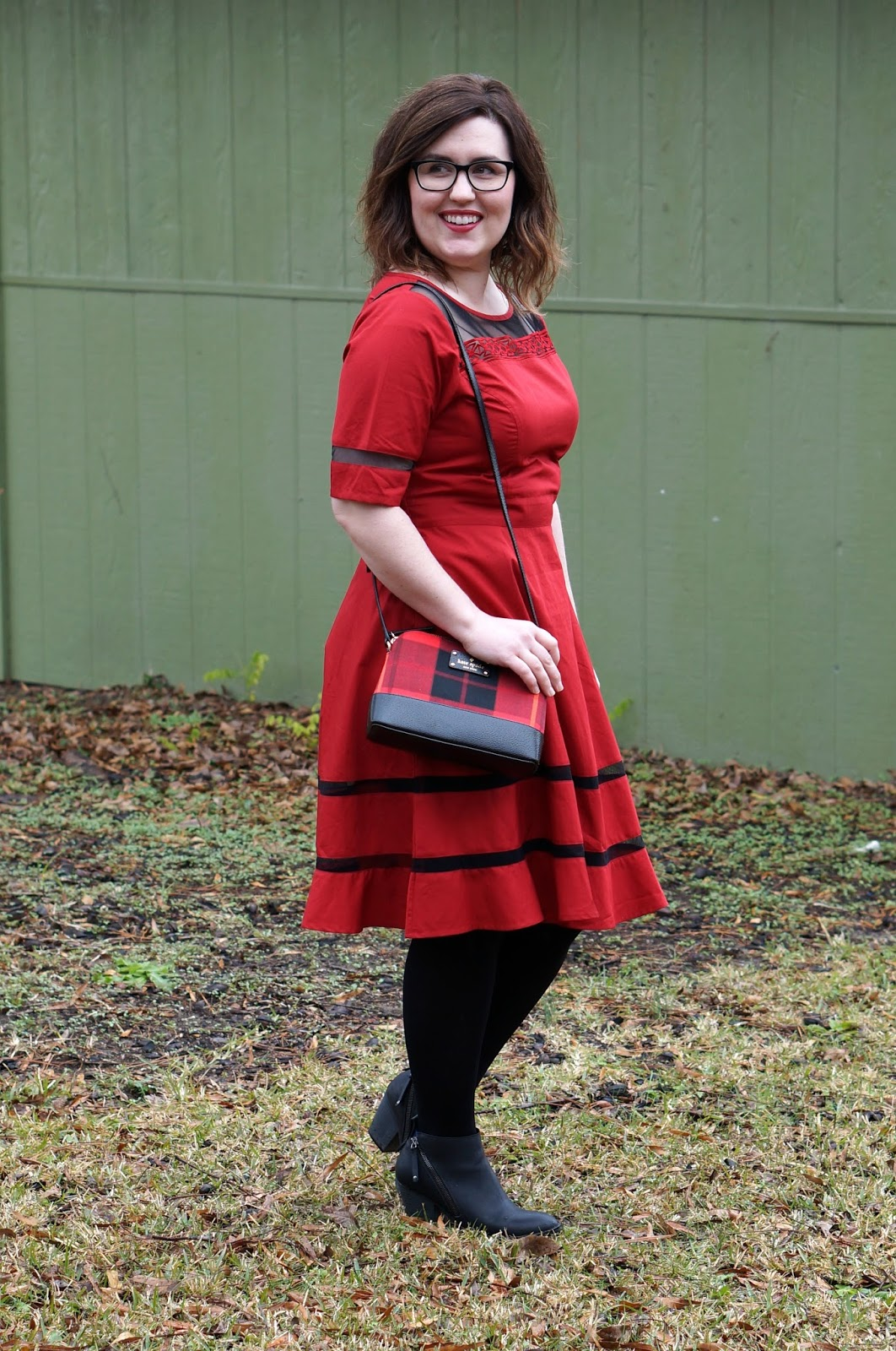Rebecca Lately eShakti Custom Red Dress Kate Spade Red Plaid Bag