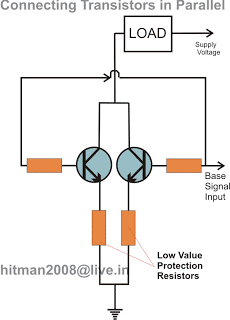 how to connect two or more transistors in parallel