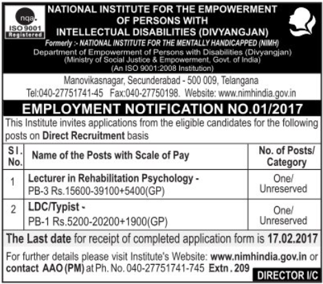 NIMH India Recruitment 2017