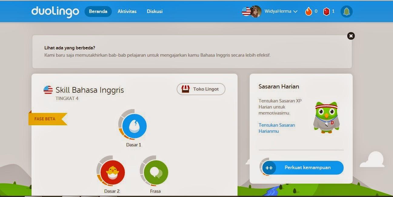 Tampilan Home Duolingo, Tempat Belajar Bahasa Inggris Gratis via Online