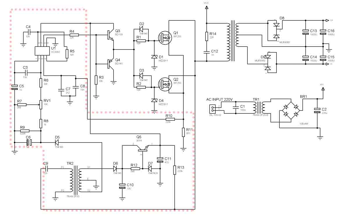 SMPS Power Amplifier using 2 Mosfet Transistor - Electronic Circuit