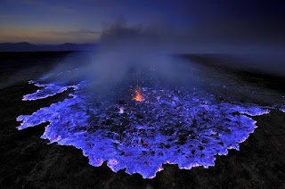 Visitindonesia; Ijen Crater Tourism Amongst Blueish Fires At The Midnight