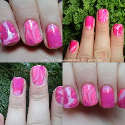Unhas marmorizadas rosa