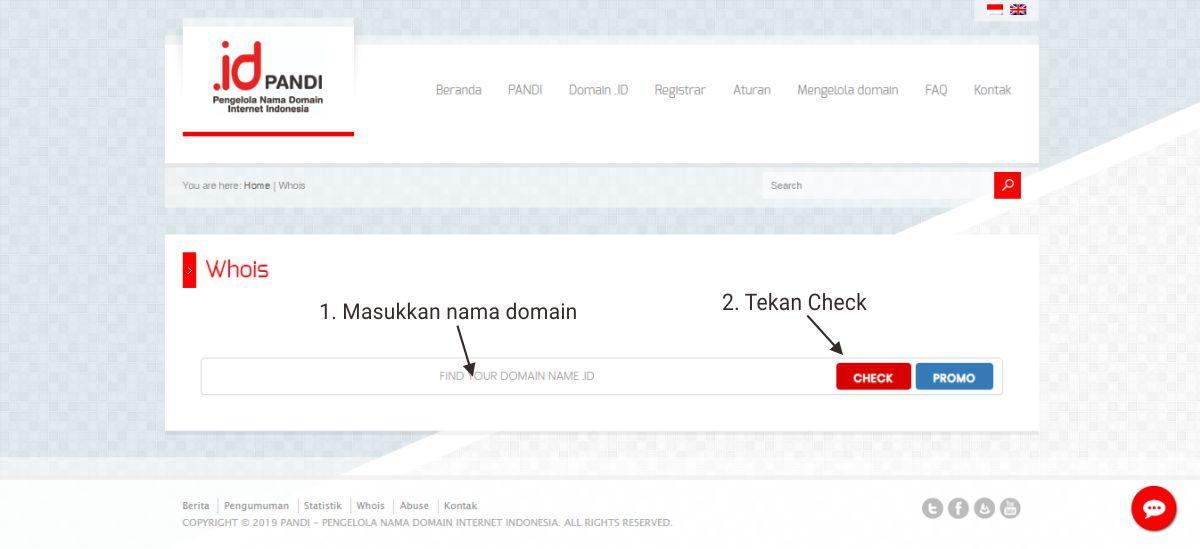 Cara mengecek / melihat data Who Is untuk domain dot id yang berasal dari Indonesia seperti .id, .co.id, .biz.id, .ac.id, .sch.id, .or.id, .web.id, ponpes.id, net.id, .desa.id, .go.id, .mil.id, dan .my.id