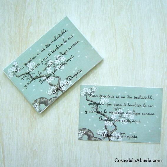 Tarjetas de agradecimiento almendro