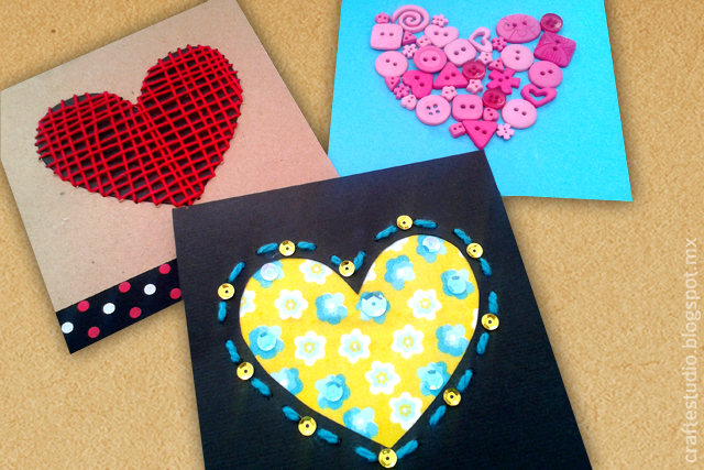necesitas gastar para regalar detalles de de febrero todo el material que use para hacer estas tarjetas con corazones lo tena en mi casa