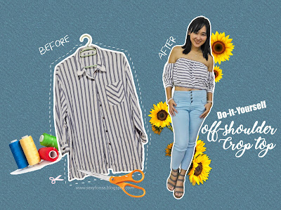 diy off shoulder crop top summer outfit must have repurpose old men button up shirt