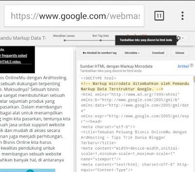 Pemandu Markup Data Terstruktur webmaster tool