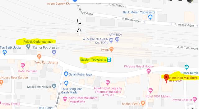 Titik Jemput Penumpang Ojek Online Gojek-Grab di Stasiun Tugu Yogyakarta