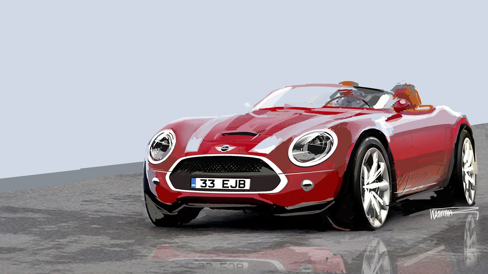 Mini Vision Superleggera front view photoshop by Anders Warming