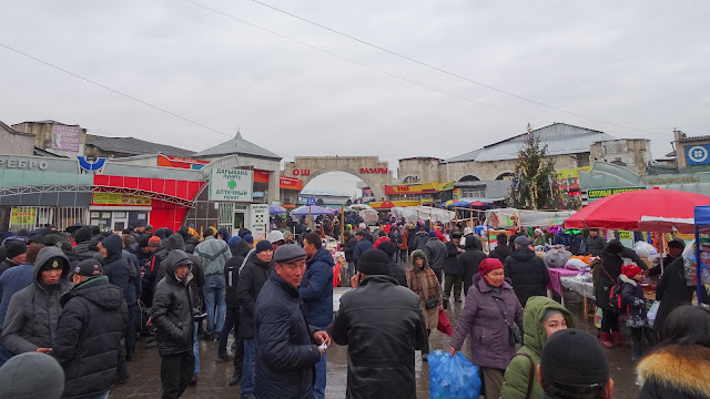 Possible to buy kyrgyzstan food products, almost any common household good, clothes, souvenirs.