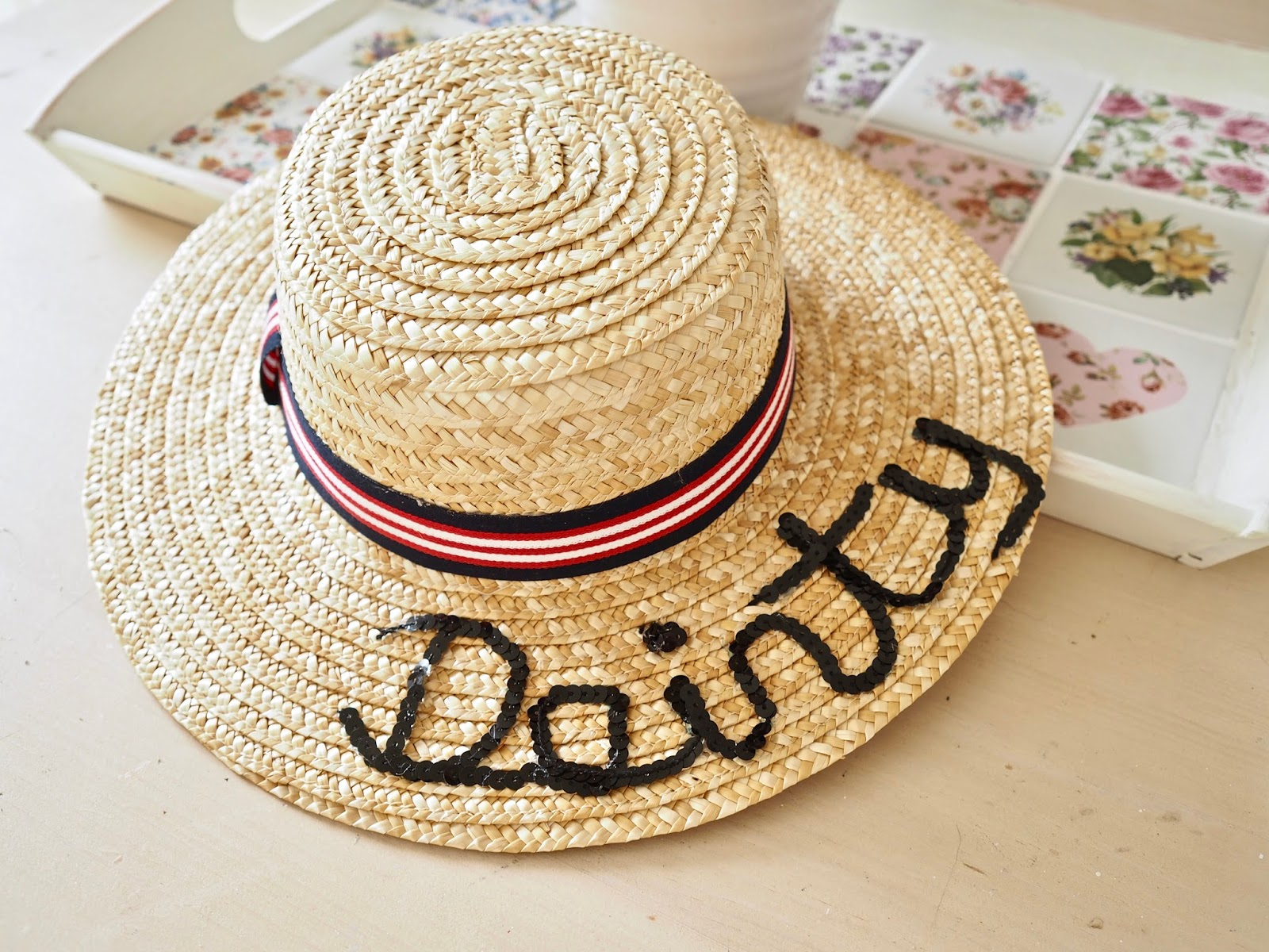 I did my straw hat first and it is a little wonky but when I did the  lettering on my straw bag it was much better. So a2f724223e37