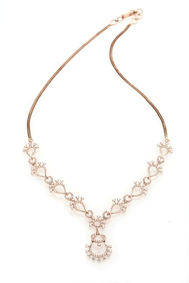 Entice Alina Collection_ All diamond necklet in rose gold-