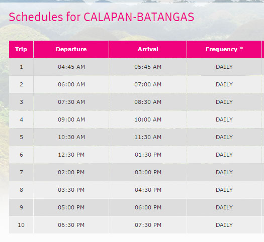calapan to batangas ferry schedule via SuperCat