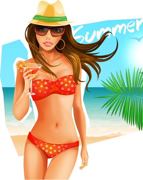 vector de chica tomando un cóctel en la playa