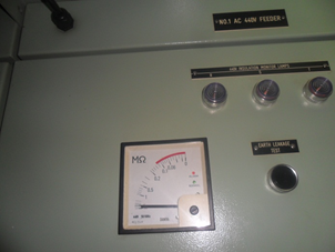 Appointment of indicators insulation meter after the repair on panel AC440 Feeder.