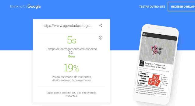 Teste a velocidade do seu blog no celular.