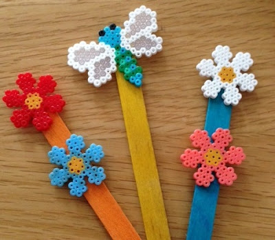 Mini Hama bead decorative plant markers