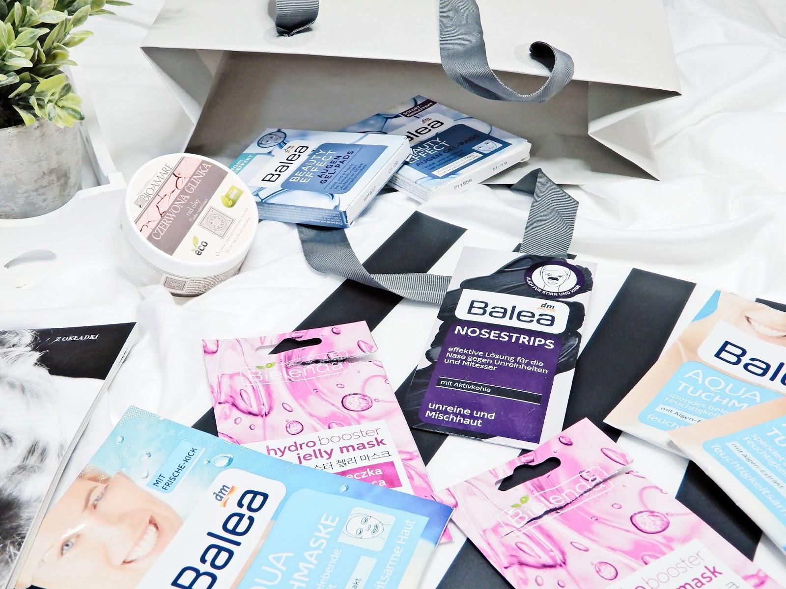Bioamare czerwona glinka, Balea Beauty Effect Augen Gel-Pads, Balea Nosestrips mit Aktivkohle, Balea Aqua Tuchmaske, Bielenda Hydro Booster Jelly Mask,