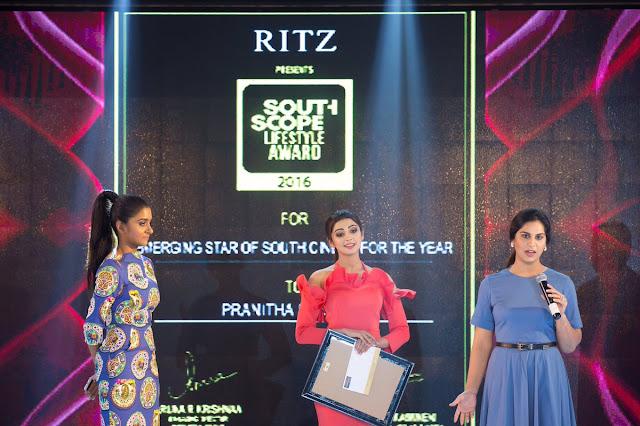 pranitha south scope lifestyle awards 2016