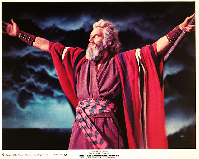Lobby card for The Ten Commandments, with Charleton Heston as Moses (1956)
