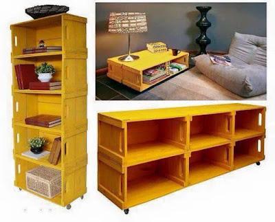 muebles hechos con cajones de madera reciclados
