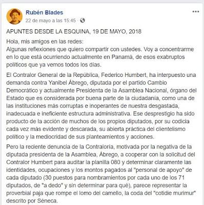 APUNTES DESDE LA ESQUINA, 19 DE MAYO, 2018 por Rubén Blades