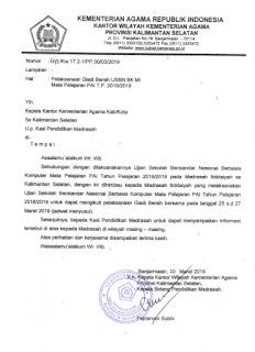 Gladi Bersih USBN BK MI se Kalsel 2018/2019